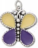 Large Yellow And Purple Enameled Butterfly Charm
