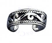 Wide Band Beach Ocean Waves Tribal Design Adjustable Toe Ring