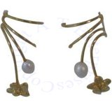 Gold Vermeil Pierceless Left Right Ear Cuff Wrap Earrings Set With Pea