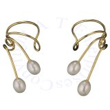 Gold Vermeil Pierceless Right Only Ear Cuff Wrap Earring Two Pearls