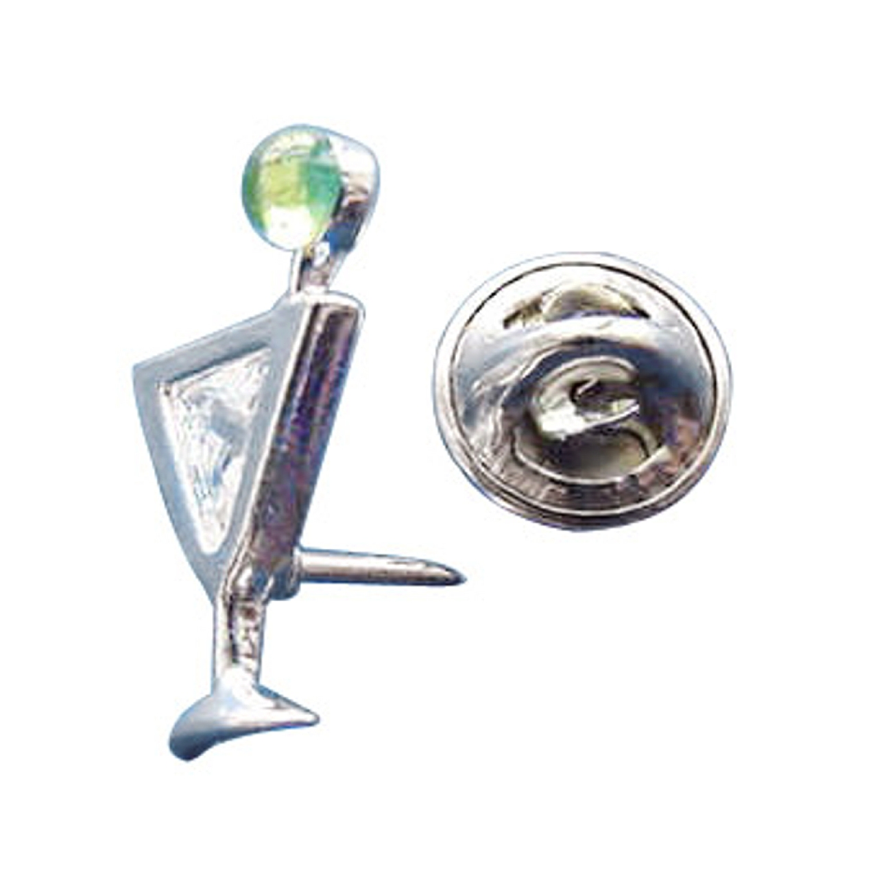 Sterling Silver Clear Cubic Zirconia Martini Cocktail Pin