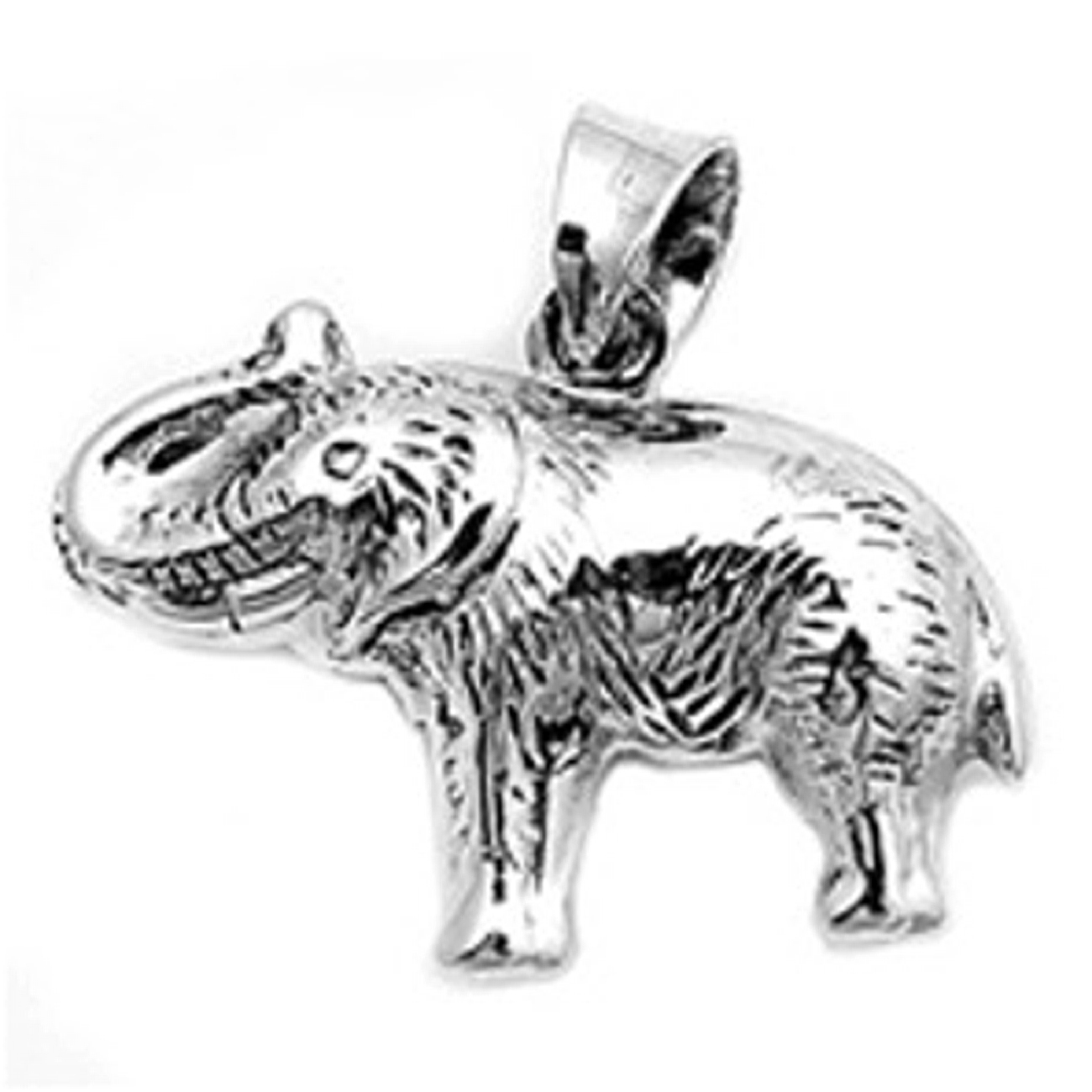 Sterling Silver Plain Elephant 3D Two Sided With Detail Marks Pendant
