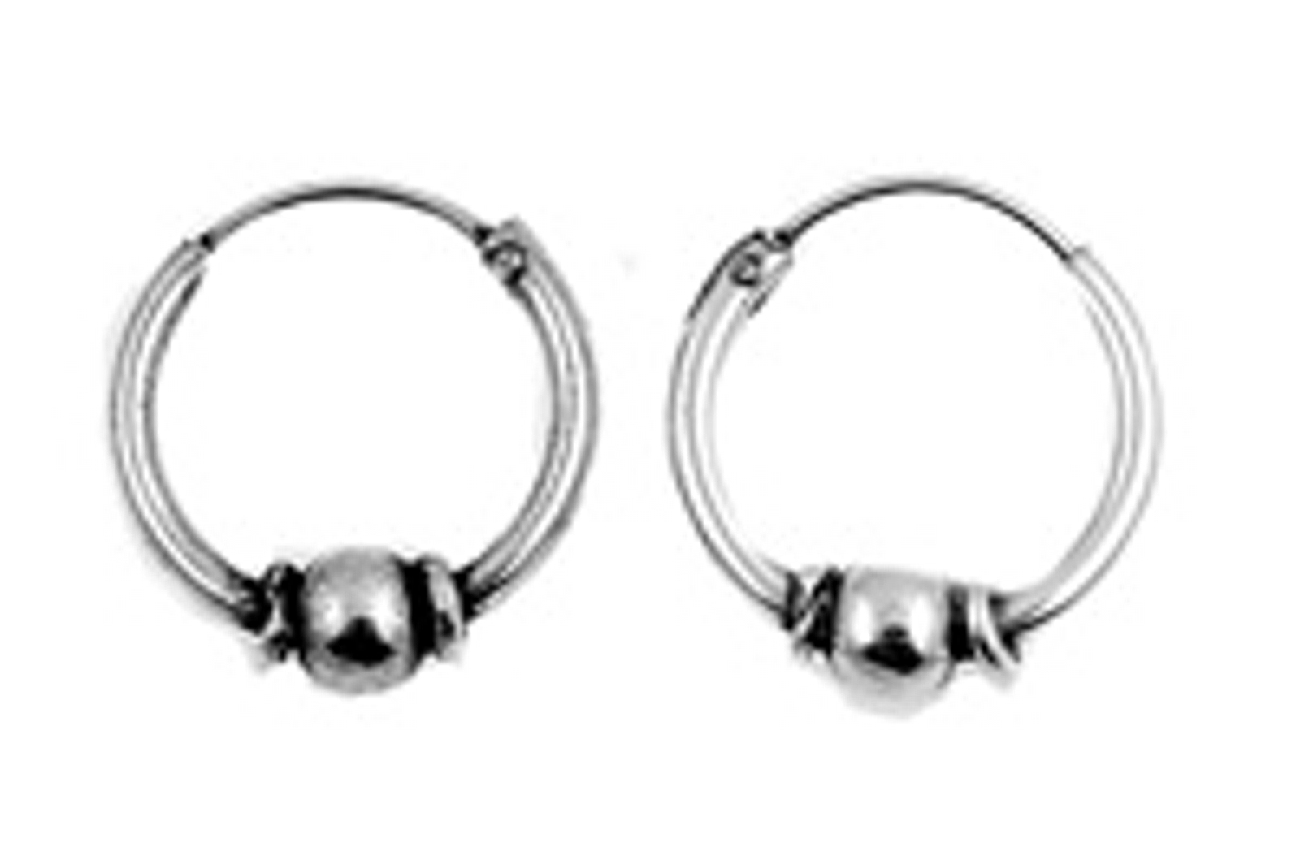 12mm Diameter Round Ball Center Bali Hoop Men's Earrings