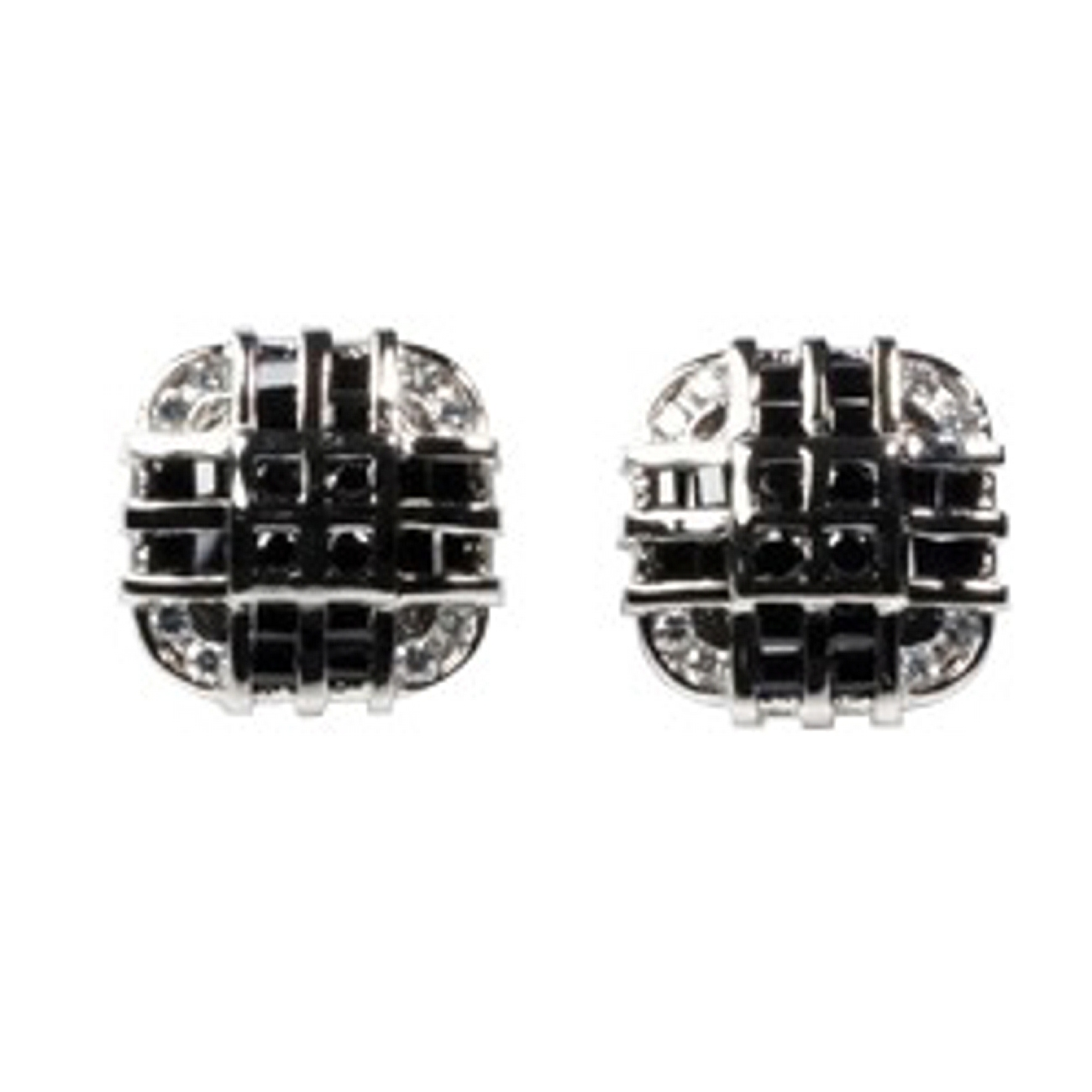 "1/4"" Silver Rounded Corners Square Black Clear CZ Men's Post Earrings"