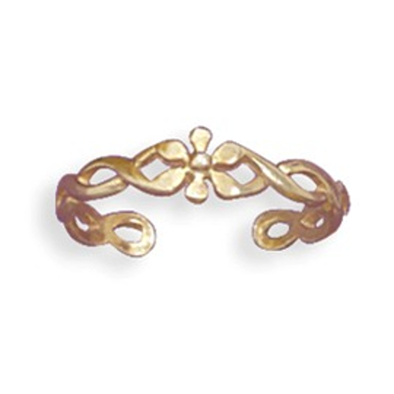 14kt Gold Plated Lightly Twisted Rope With Flower Adjustable Toe Ring