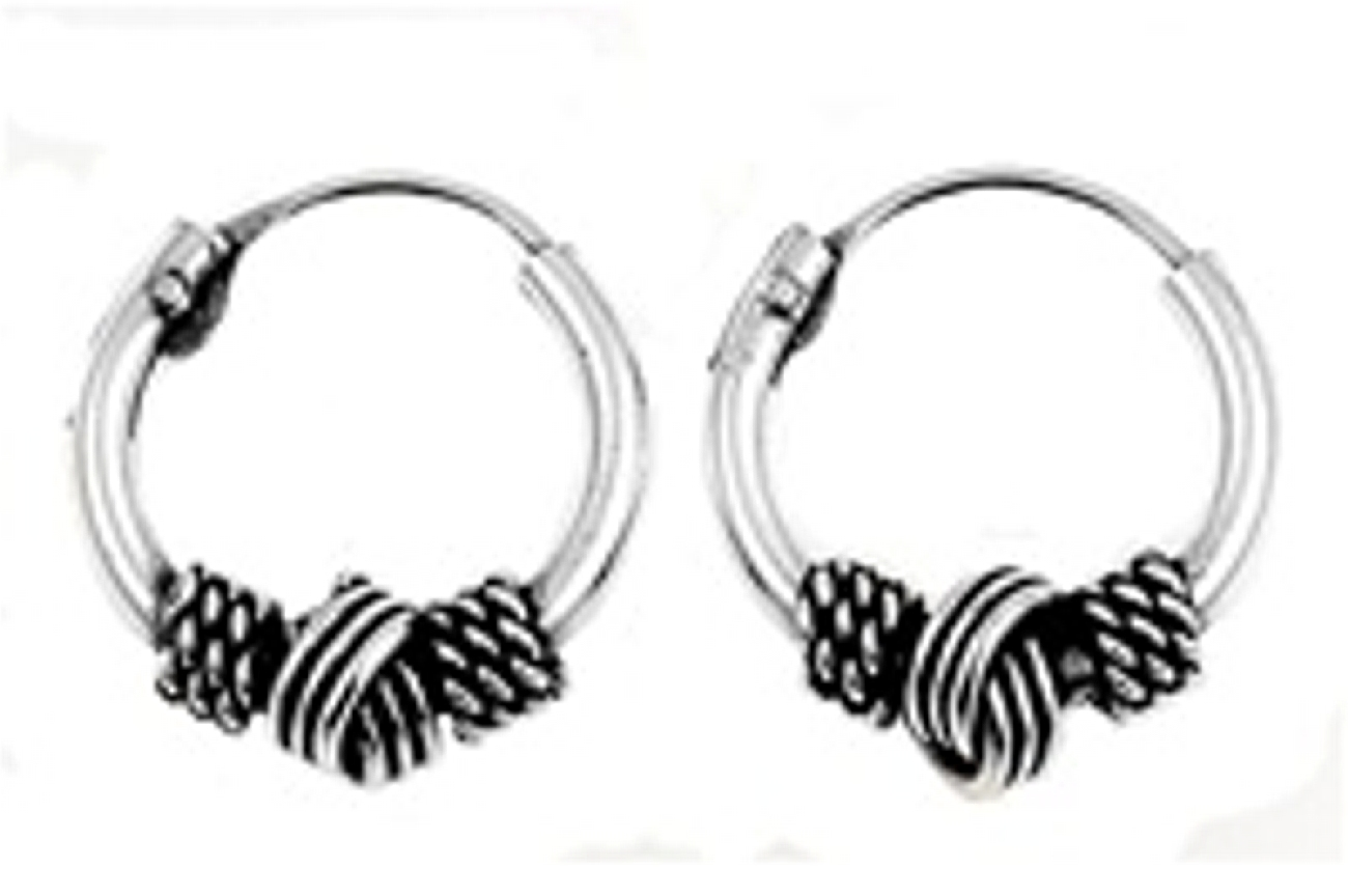11mm Diameter Men's Braided Knot Center Bali Hoop Earrings