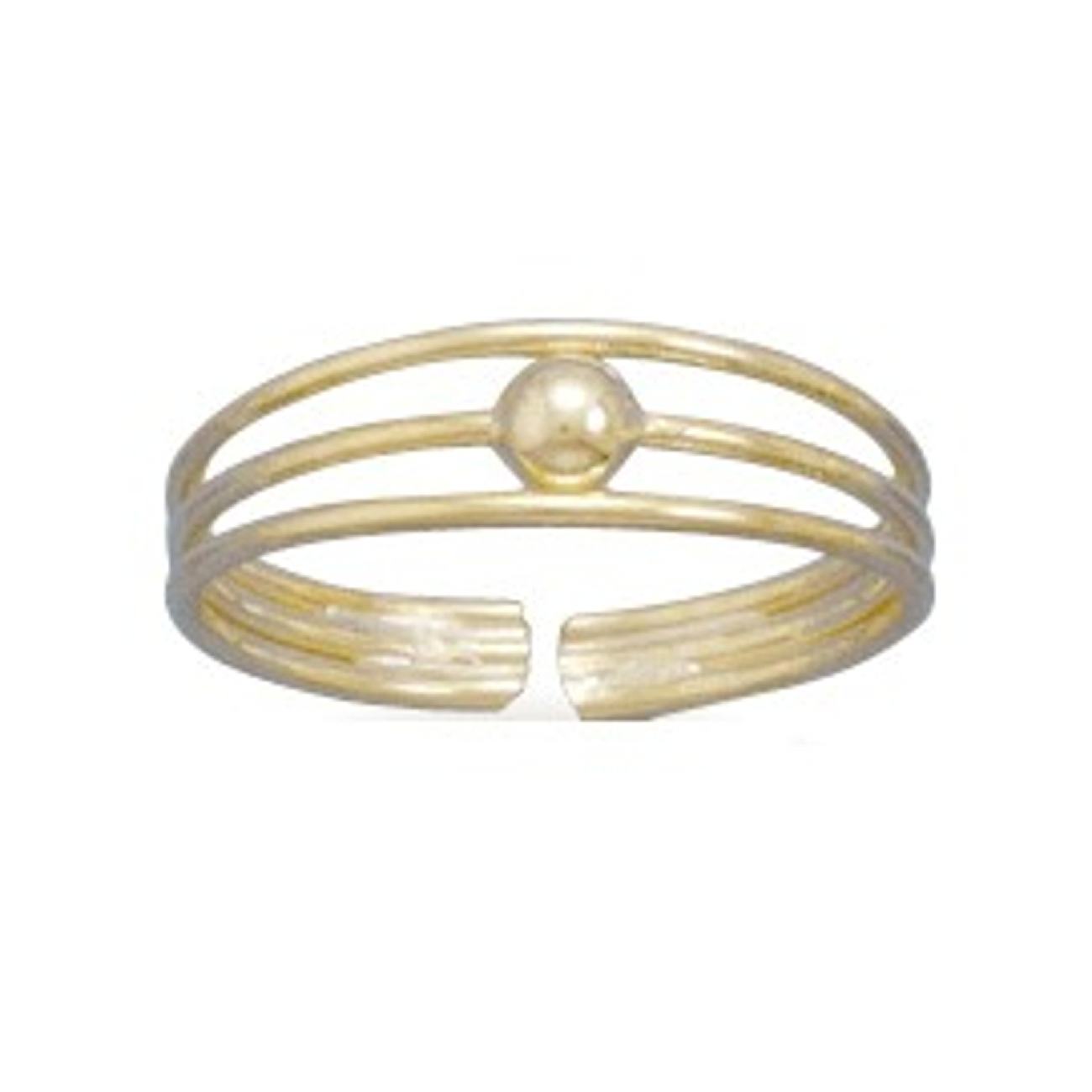 Gold Plated Beaded Three Wire Band Adjustable Toe Ring