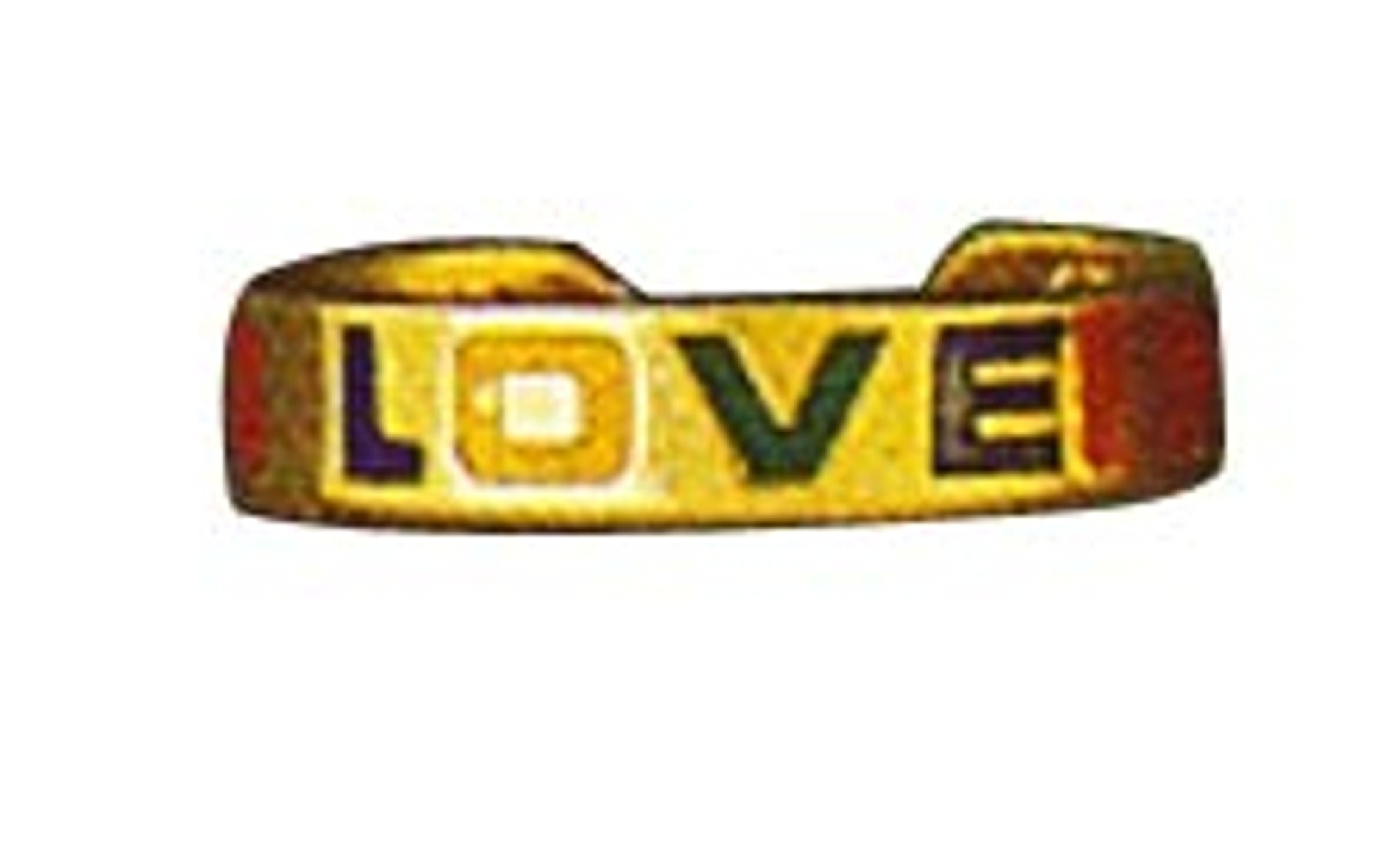 Enameled LOVE Word Hearts 14k Yellow Gold Thin Band Toe Ring