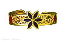 Enameled Center Flower 14k Yellow Gold Filigree Toe Ring