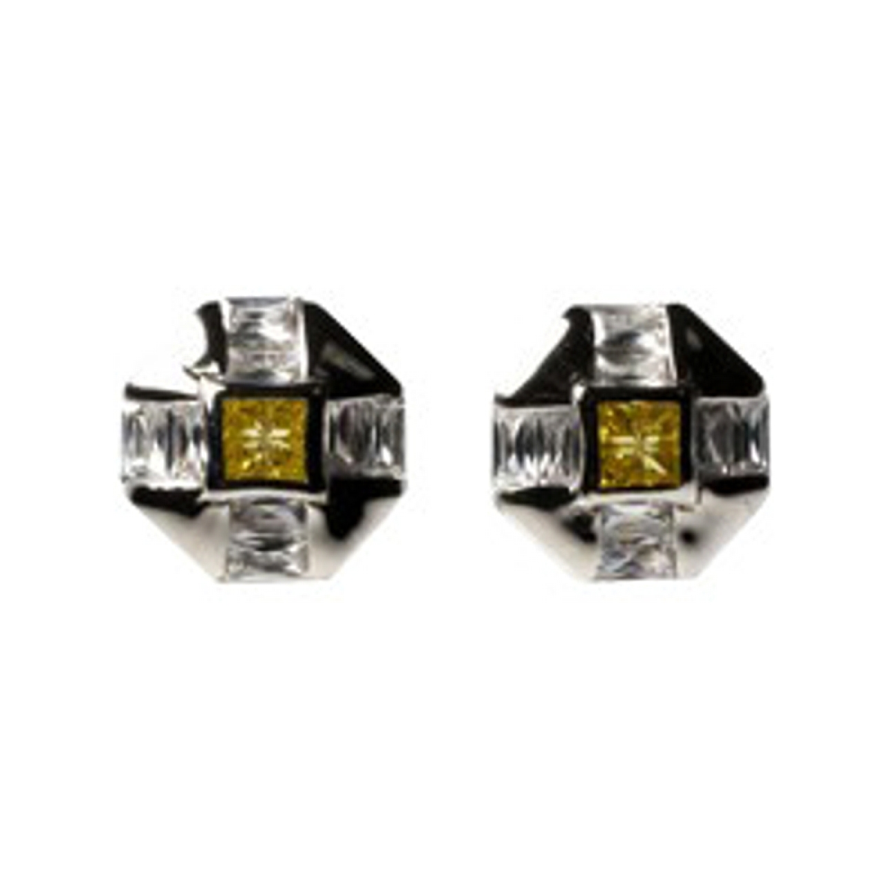 "1/2"" Octagonal Yellow Topaz Clear Cubic Zirconia Post Men's Earrings"