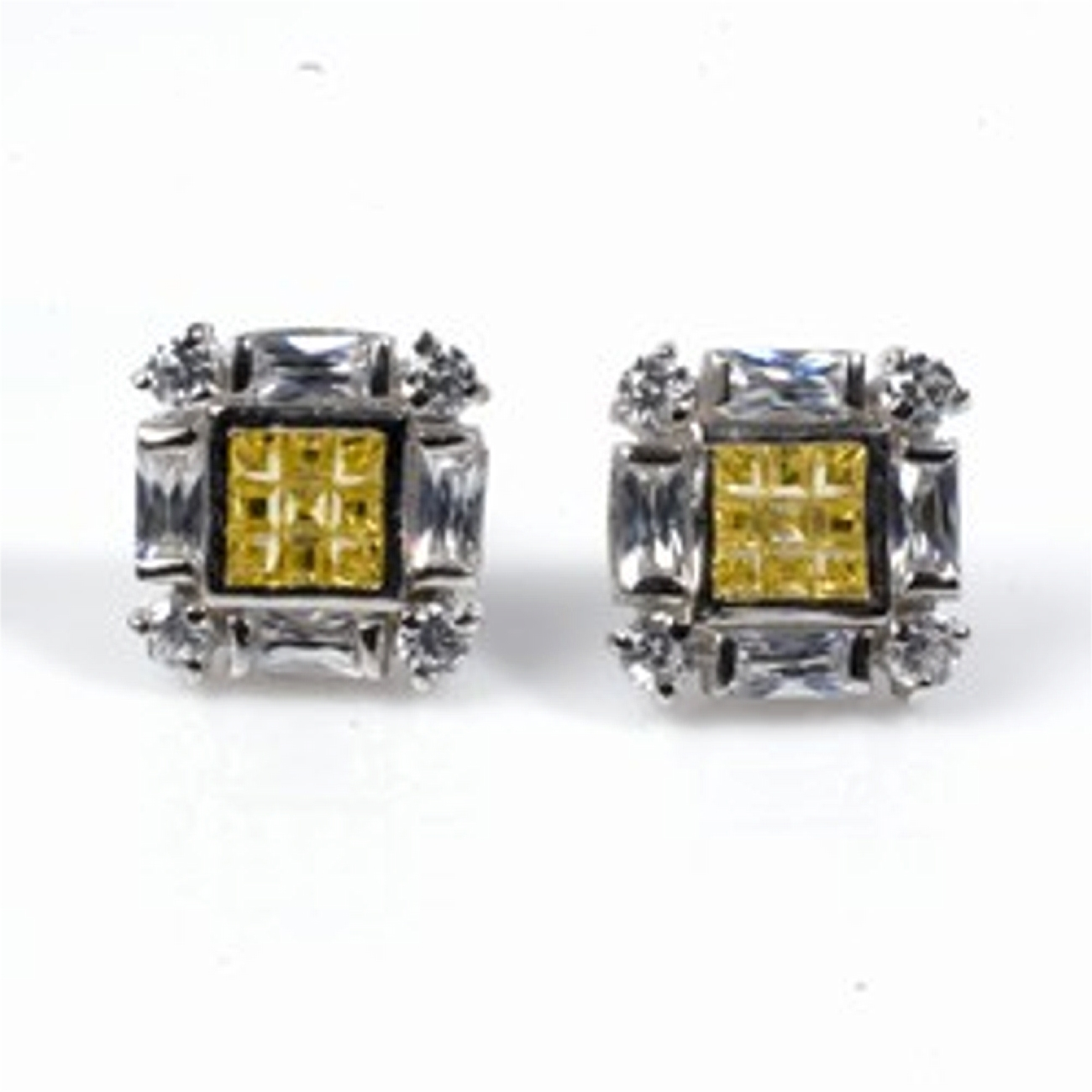 "1/2"" Square Yellow Topaz Clear CZ Squashed Cross Post Men's Earrings"