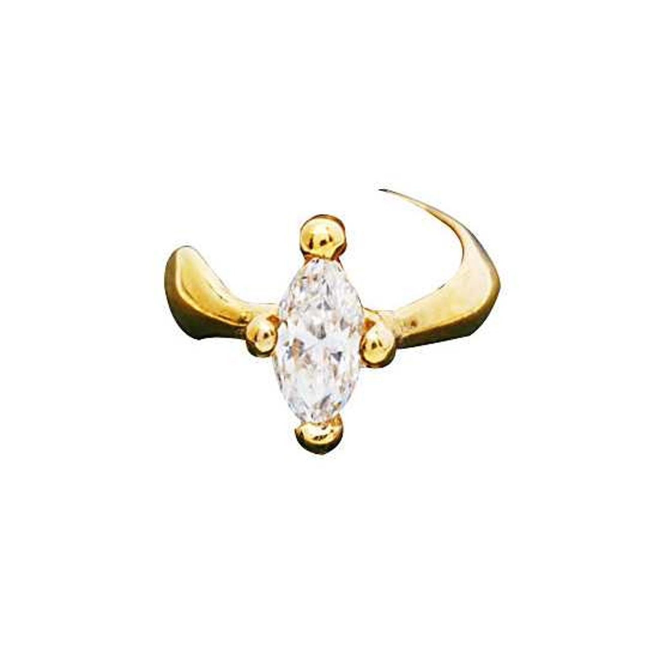 Left Or Right Gold Vermeil Marquise Solitaire Band Ear Cuff