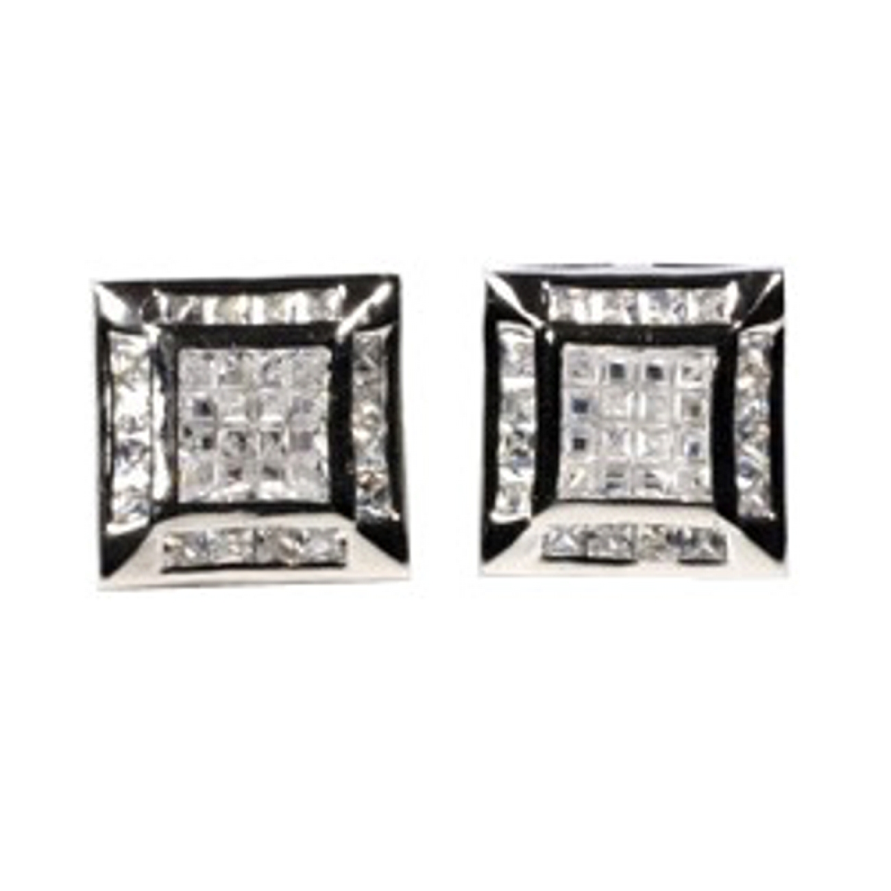 "1/2"" Square Sterling Silver Clear Cubic Zirconia Post Men's Earrings"