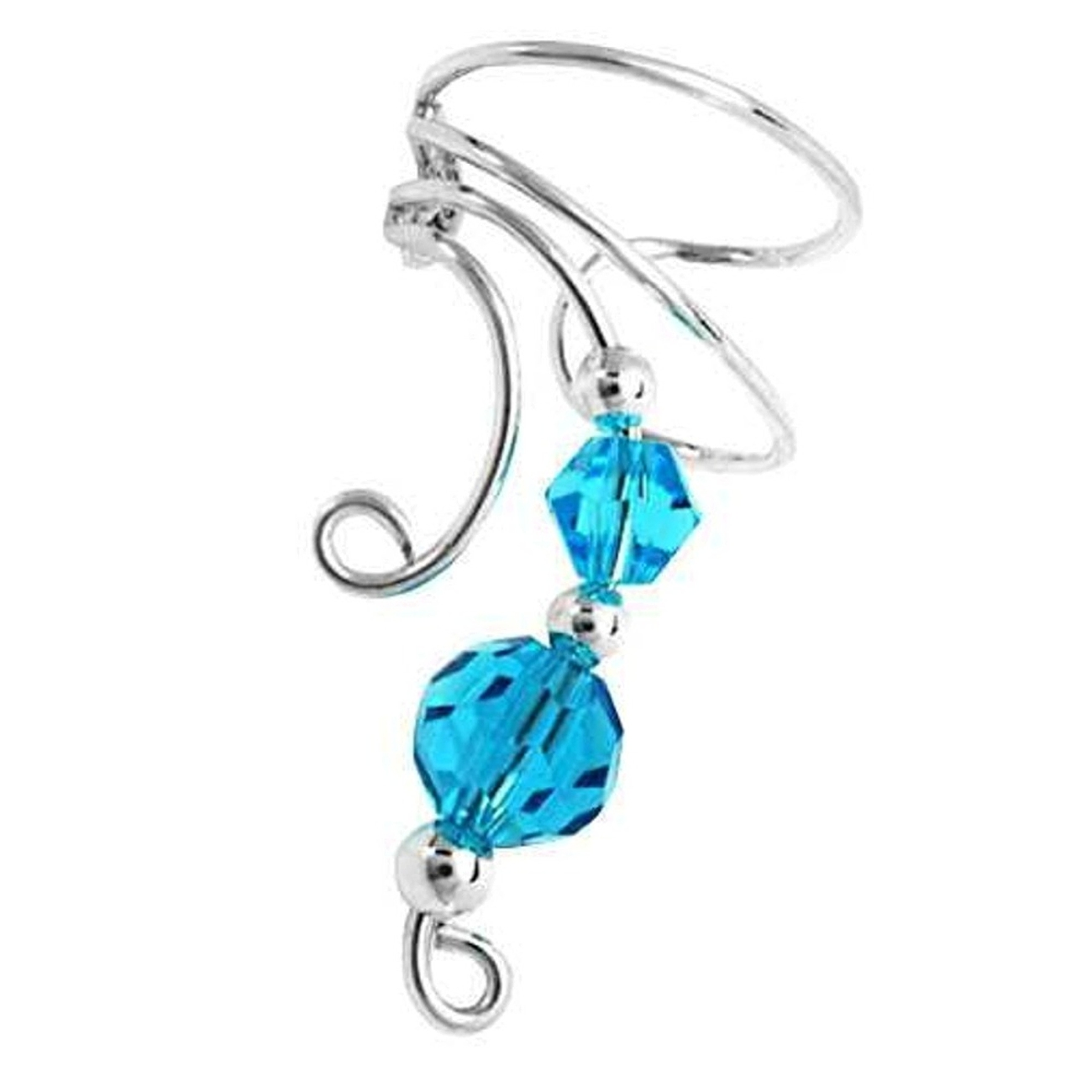 Left Only Two Blue Crystal Beads Wave Ear Cuff Wrap