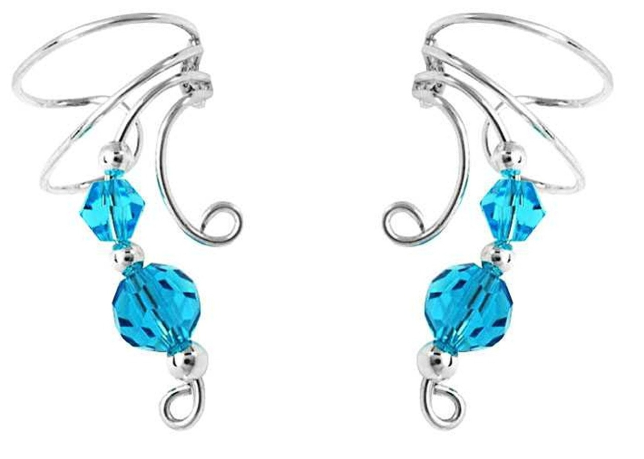 Two Blue Crystal Beads Wave Ear Cuff Wrap Set