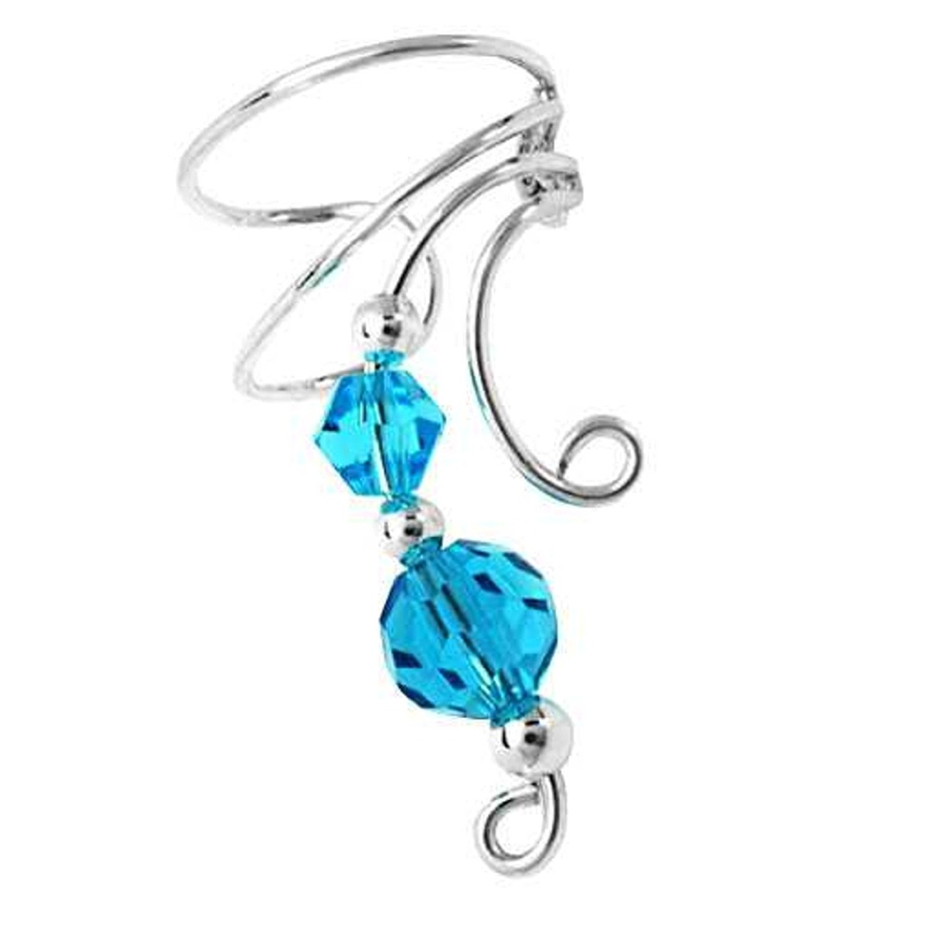 Right Only Two Blue Crystals Wave Ear Cuff Wrap