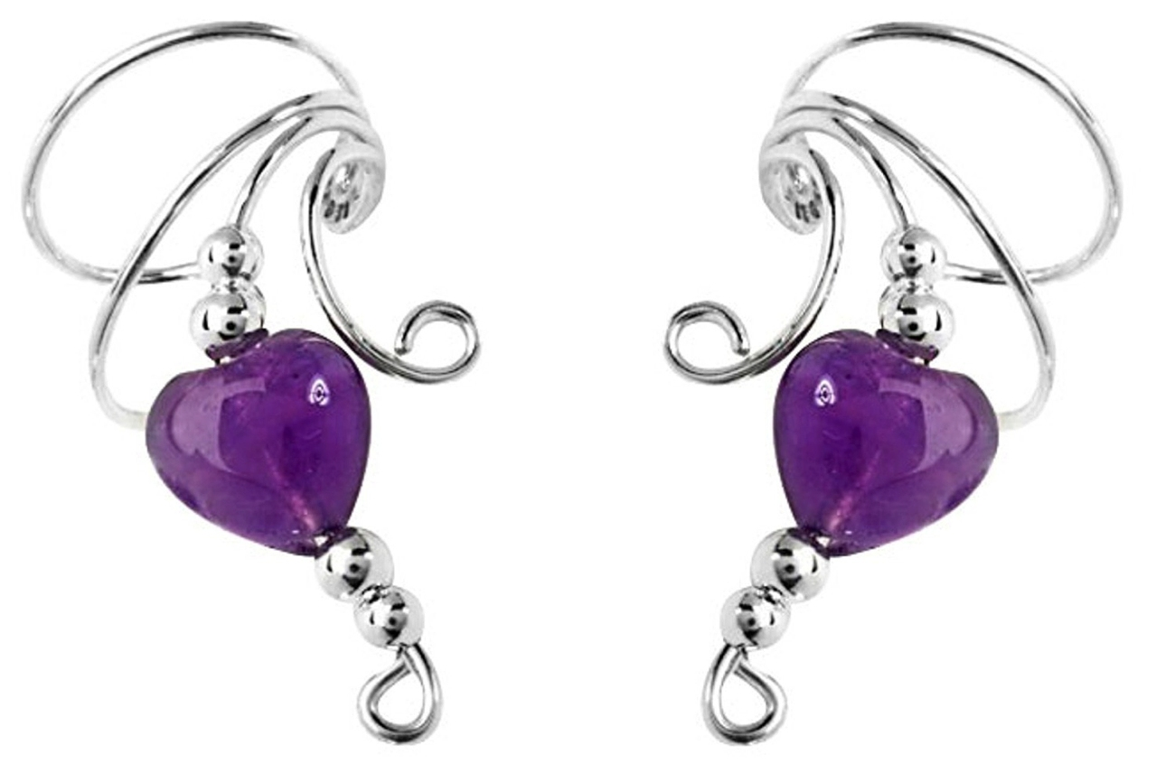 Purple Amethyst Heart Bead Wave Ear Cuff Wrap Set