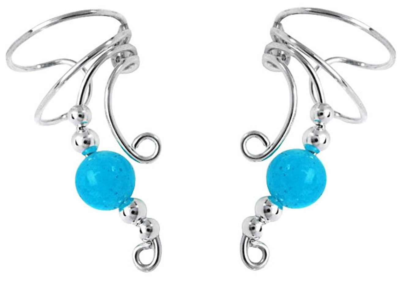 Blue Jade Round Bead Wave Ear Cuff Wrap Set