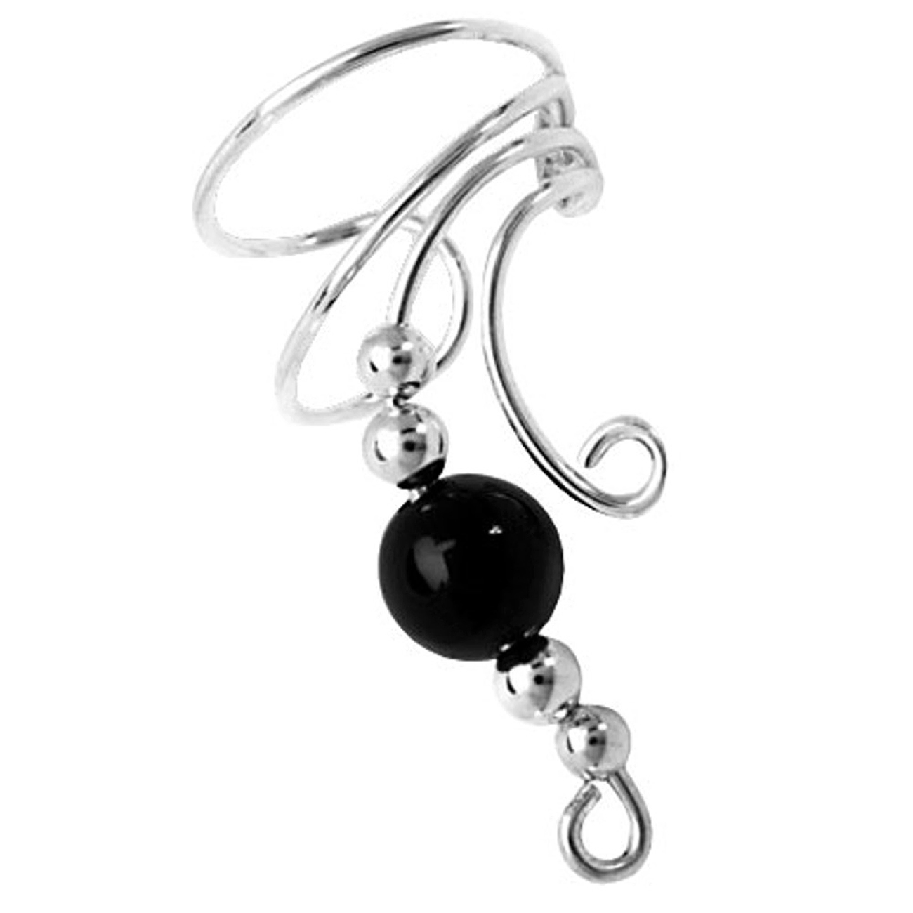 Right Only Curly Q Black Onyx Bead Ear Cuff