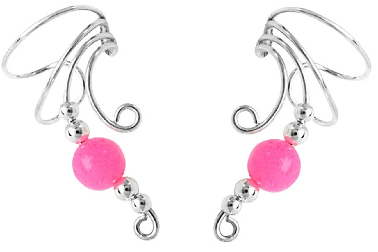 Pink Jade Round Bead Wave Ear Cuff Wrap Set