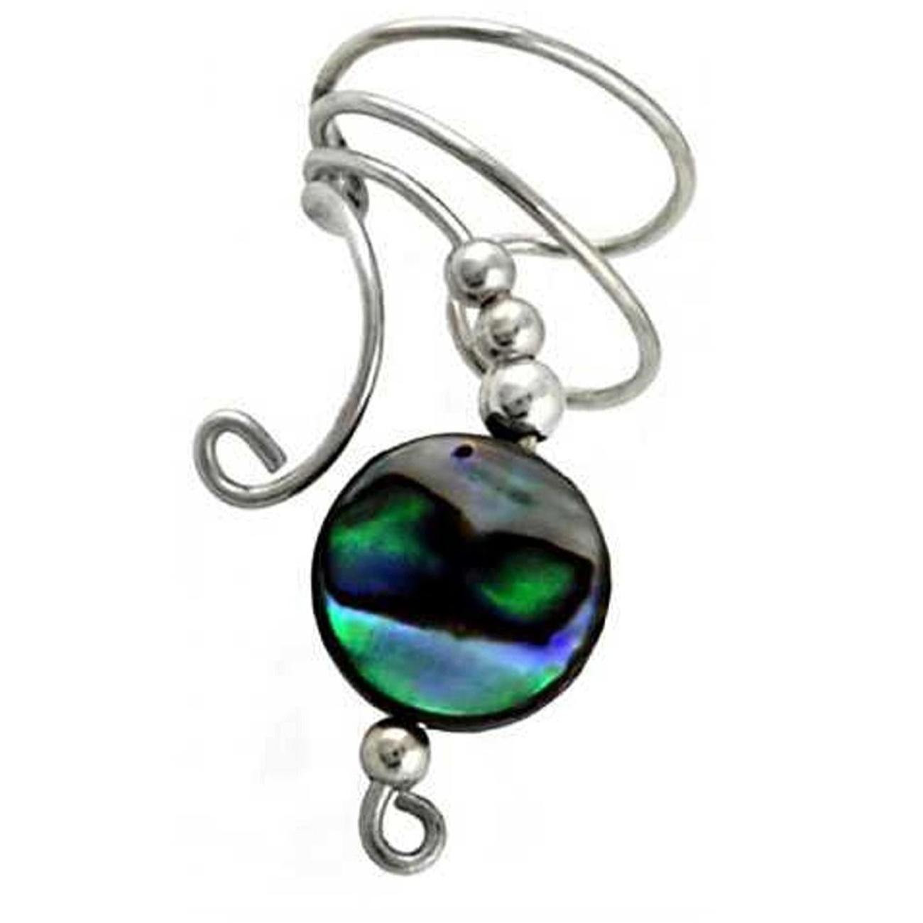 Left Only Paua Abalone Shell Round Button Bead Wave Ear Cuff Wrap
