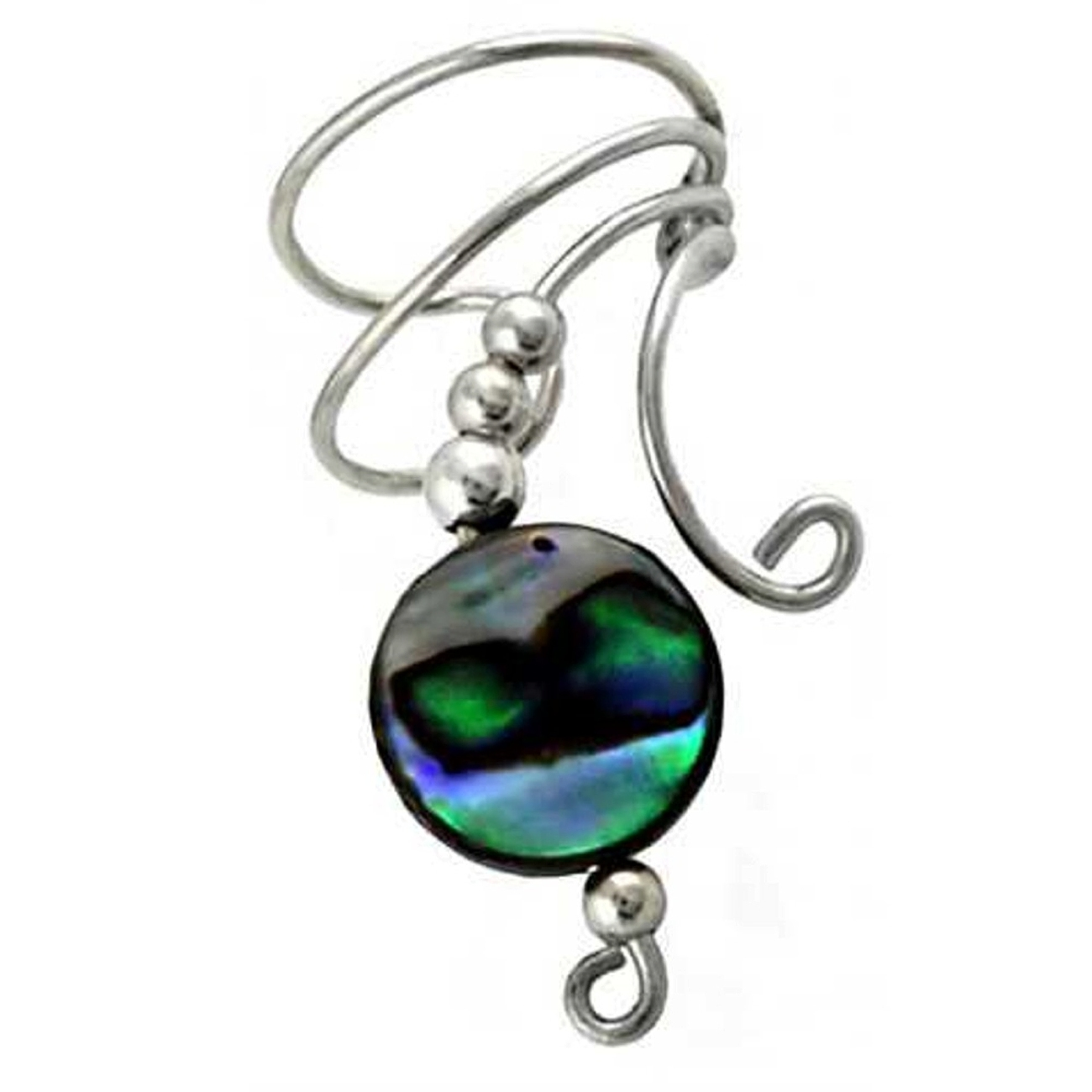 Right Only Paua Abalone Shell Round Button Bead Wave Ear Cuff Wrap