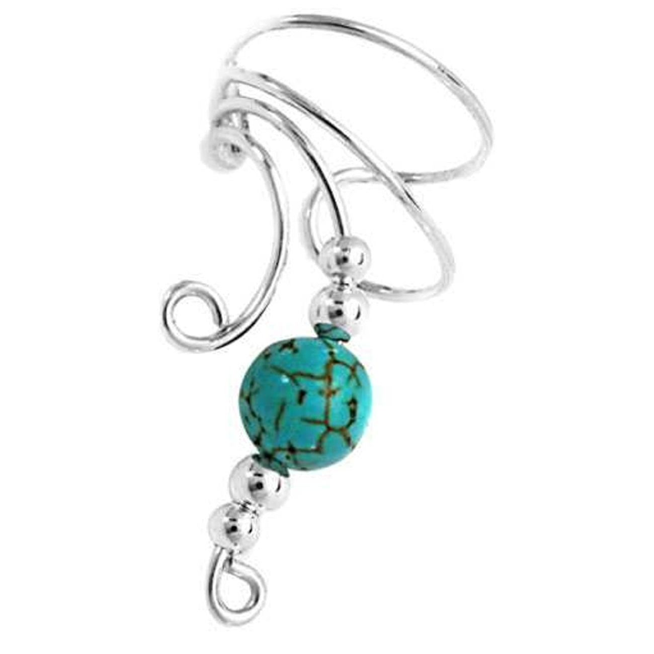 Left Only Curly Q Turquoise Bead Ear Cuff