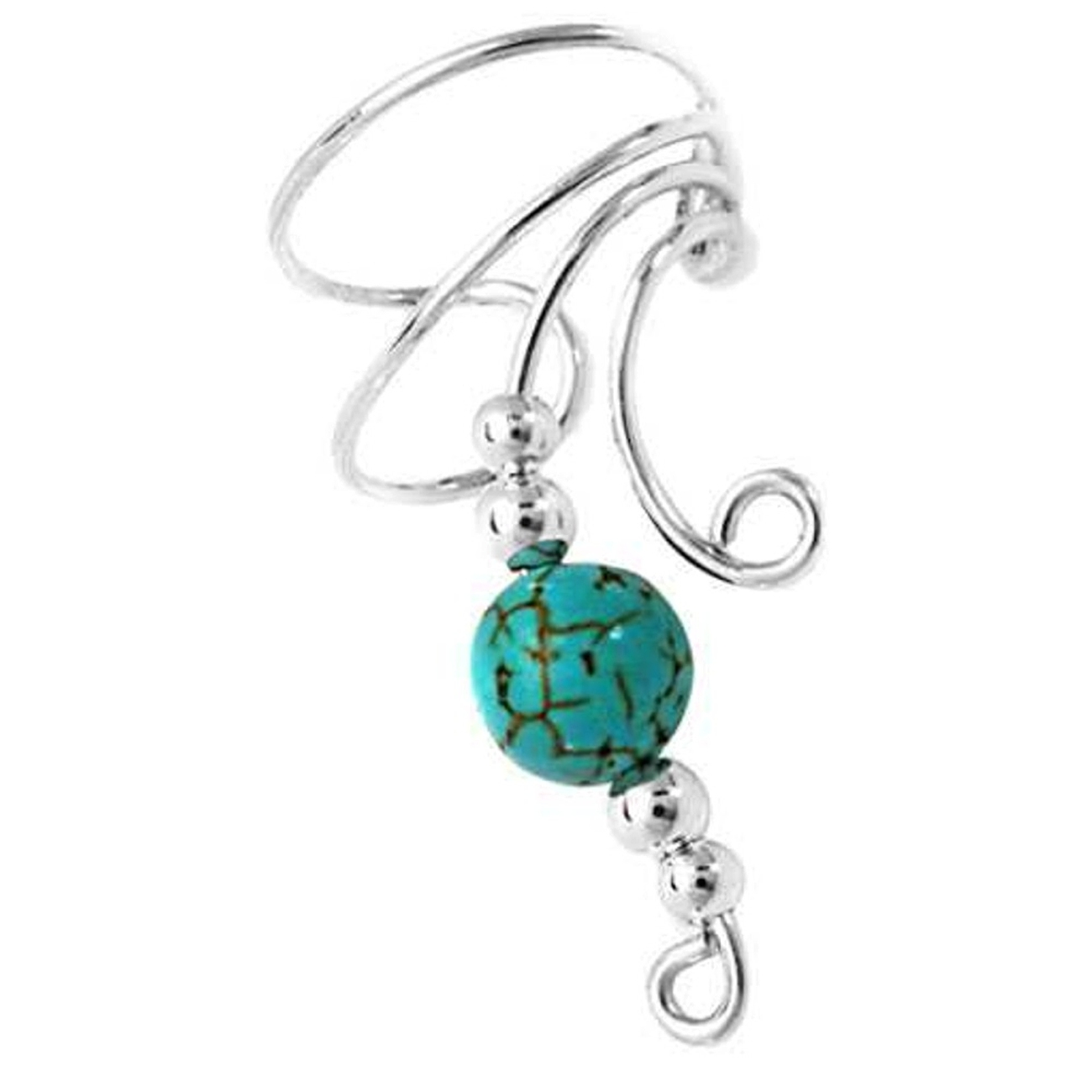 Right Only Curly Q Turquoise Bead Ear Cuff