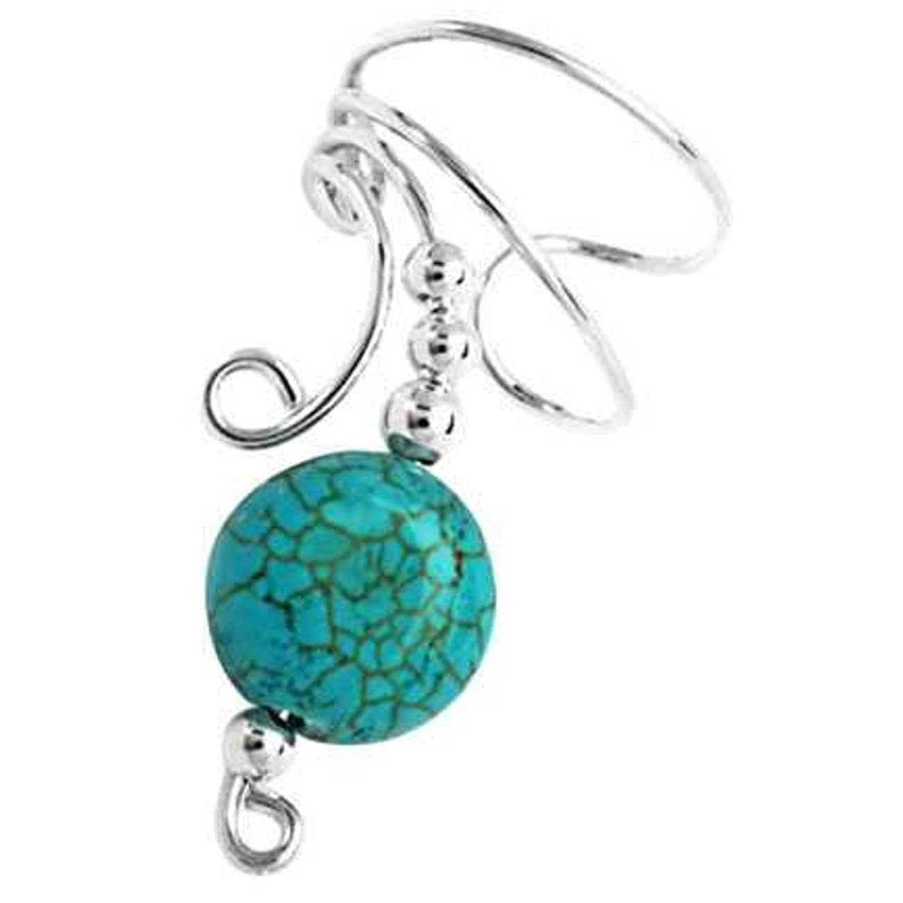 Left Only Turquoise Disc Wave Ear Cuff Wrap