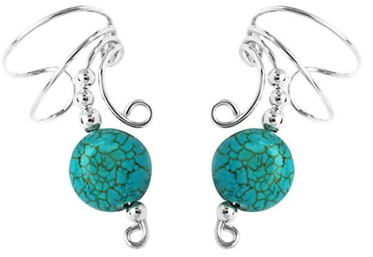 Turquoise Disc Wave Ear Cuff Wrap Set