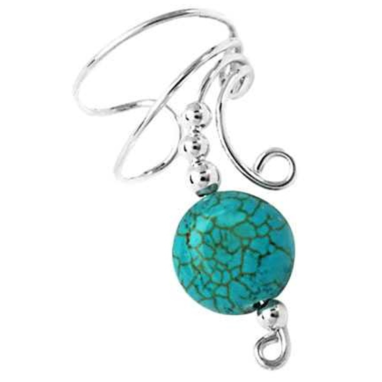 Right Only Turquoise Disc Wave Ear Cuff Wrap