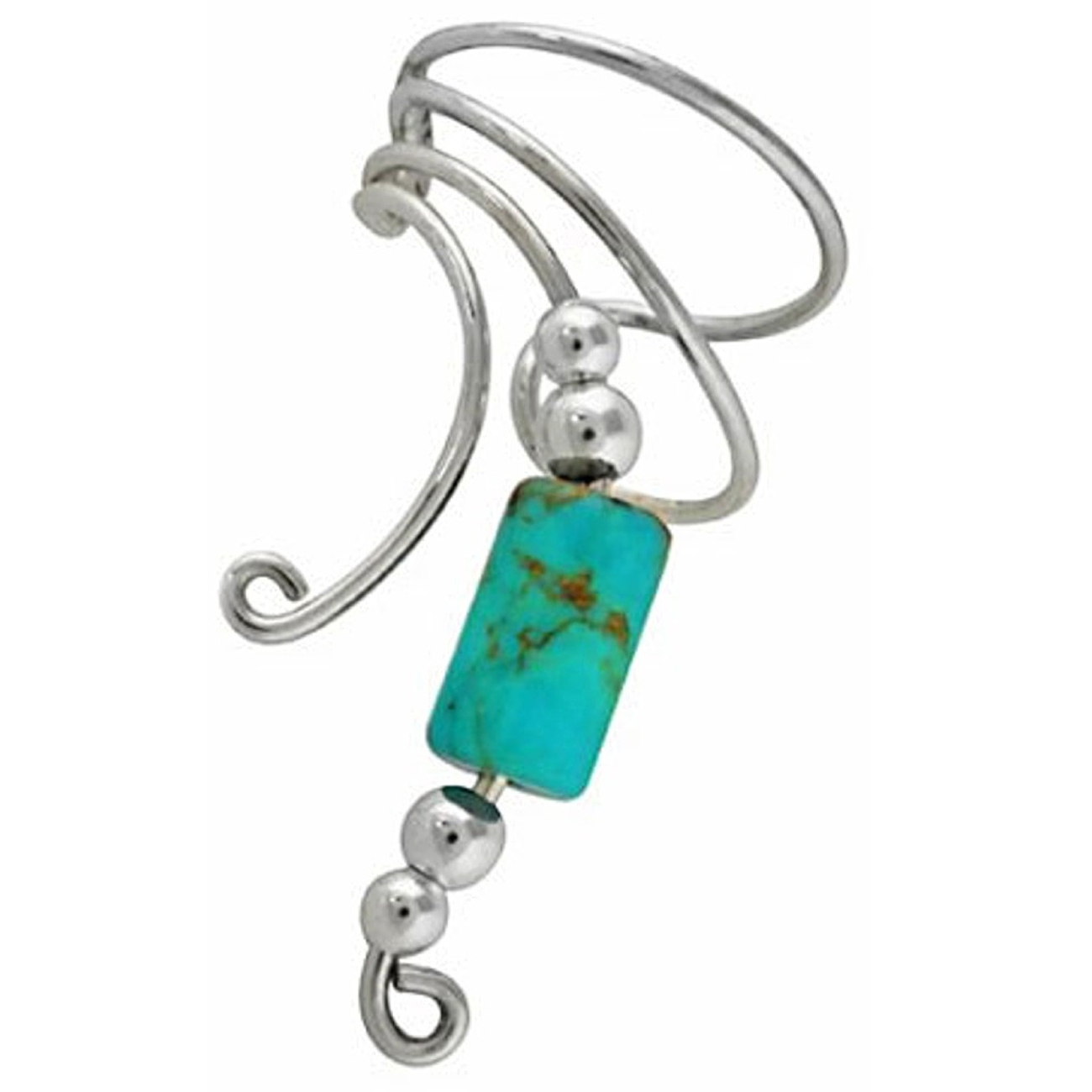 Left Only Turquoise Cylinder Wave Ear Cuff Wrap