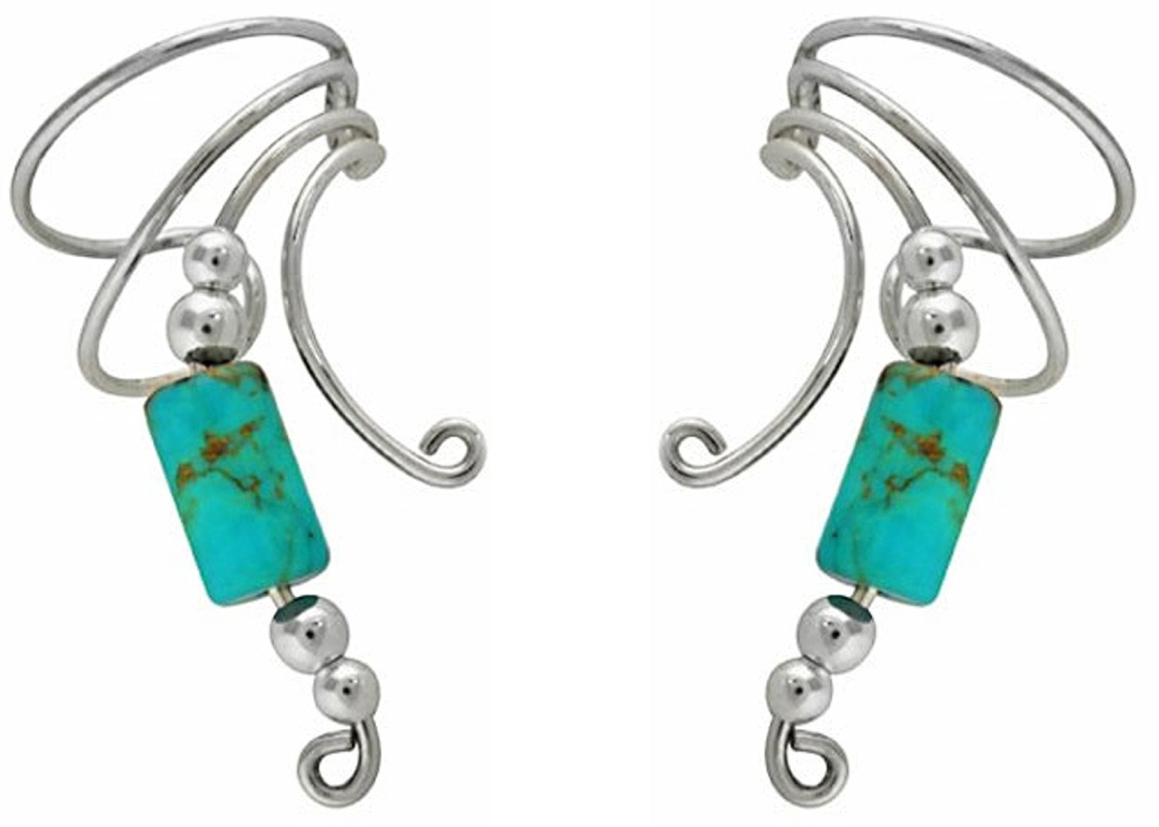 Turquoise Cylinder Wave Ear Cuff Wrap Set