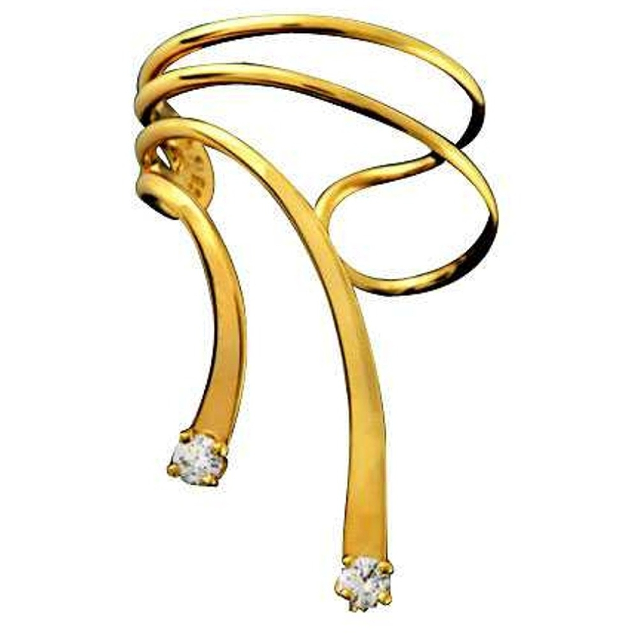 Left Only Gold Vermeil Cubic Zirconia Short Wave Ear Cuff