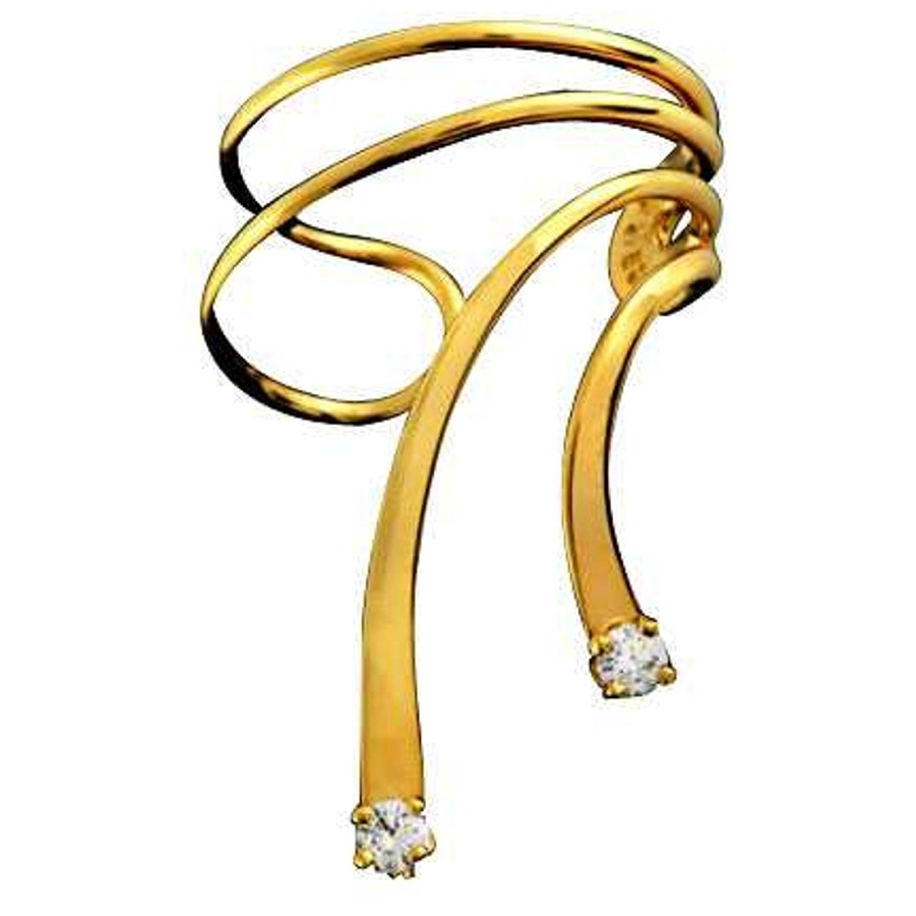 Right Only Gold Vermeil Cubic Zirconia Short Wave Ear Cuff