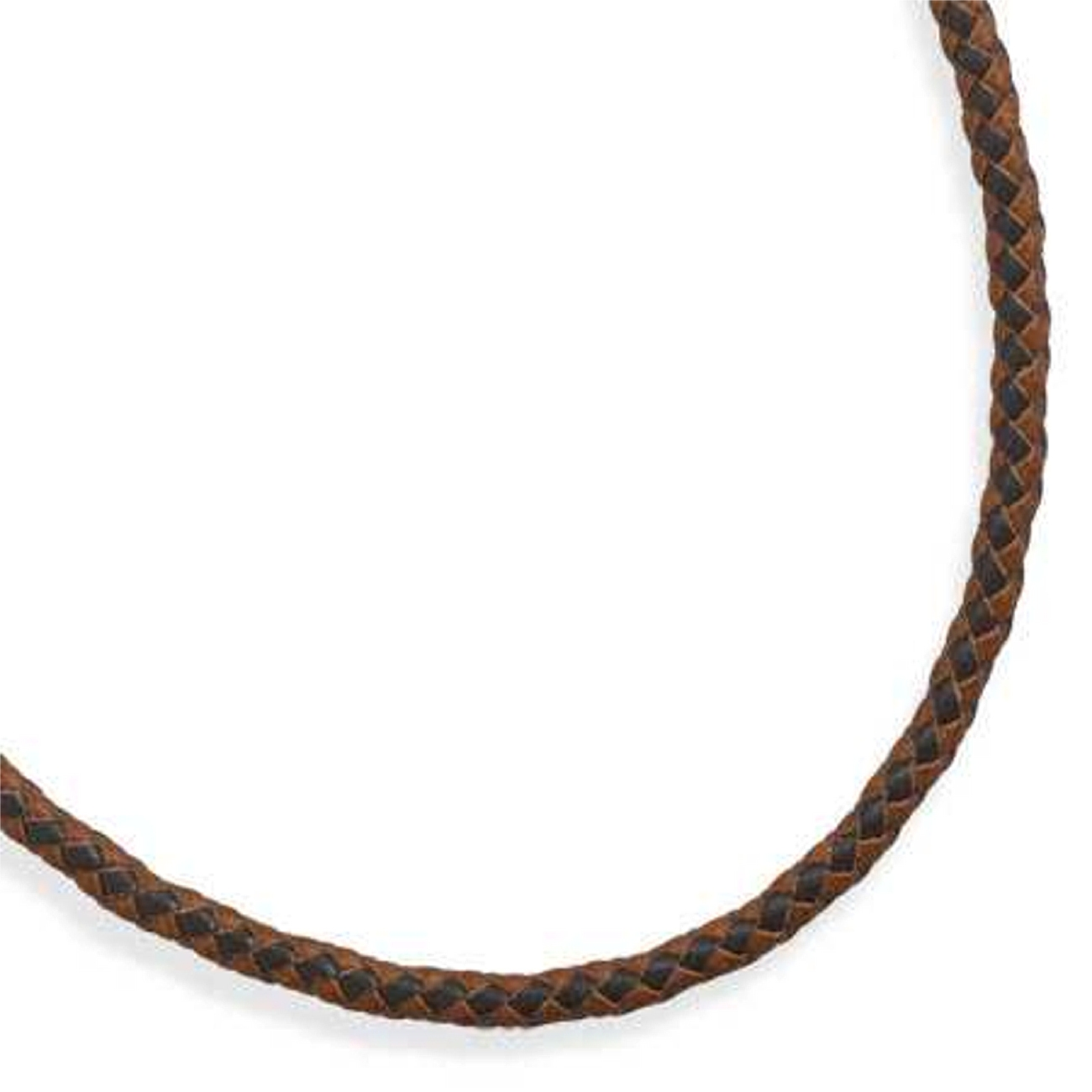 "Men's 20"" Stainless Steel Brown Leather Braided Necklace"