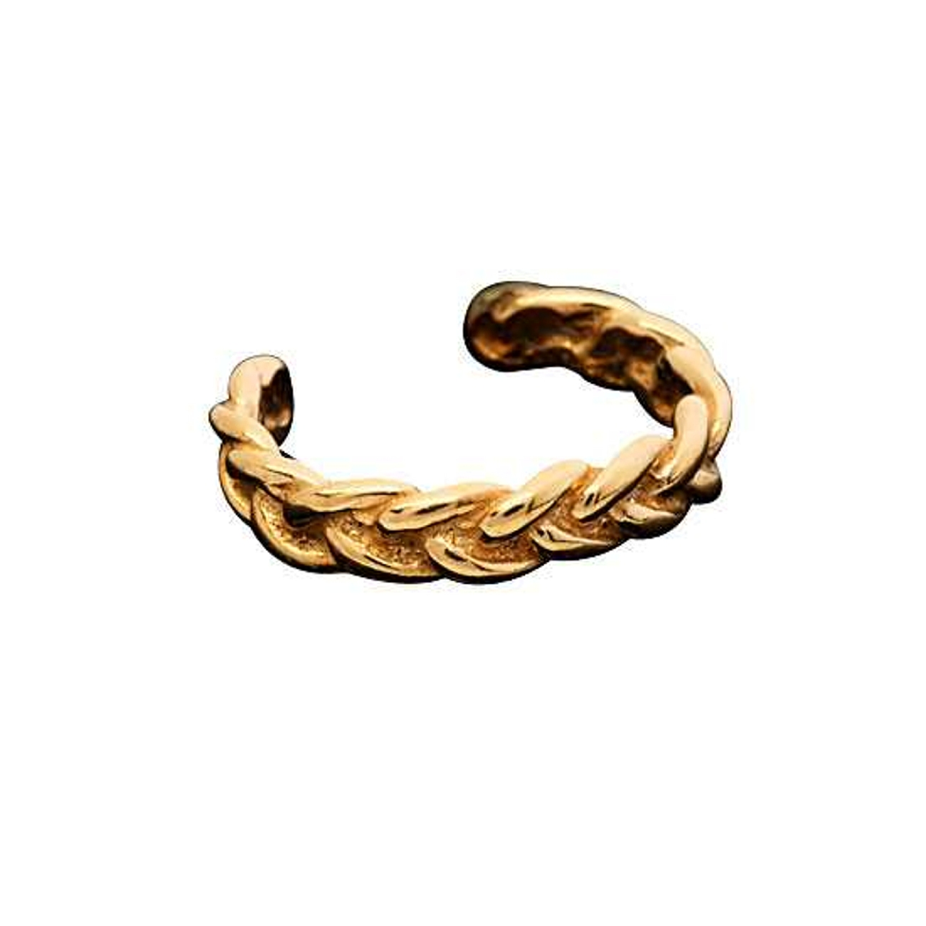 Left Or Right Gold Vermeil Pierceless Braided Band Ear Cuff