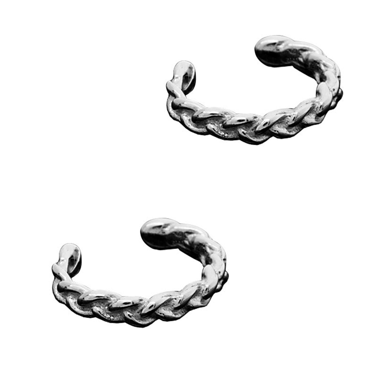 Left Or Right Pair Of Pierceless Small Braided Band Outer Ear Cuffs