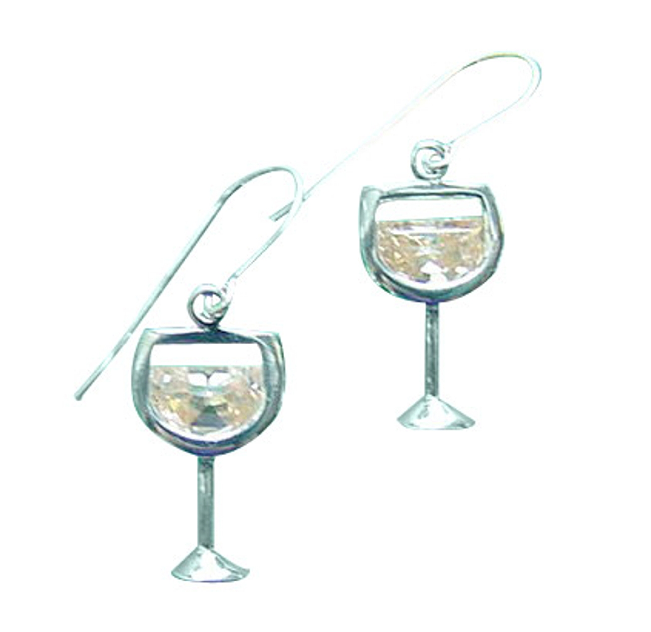 Sterling Silver Cubic Zirconia Glass Of White Wine Earrings