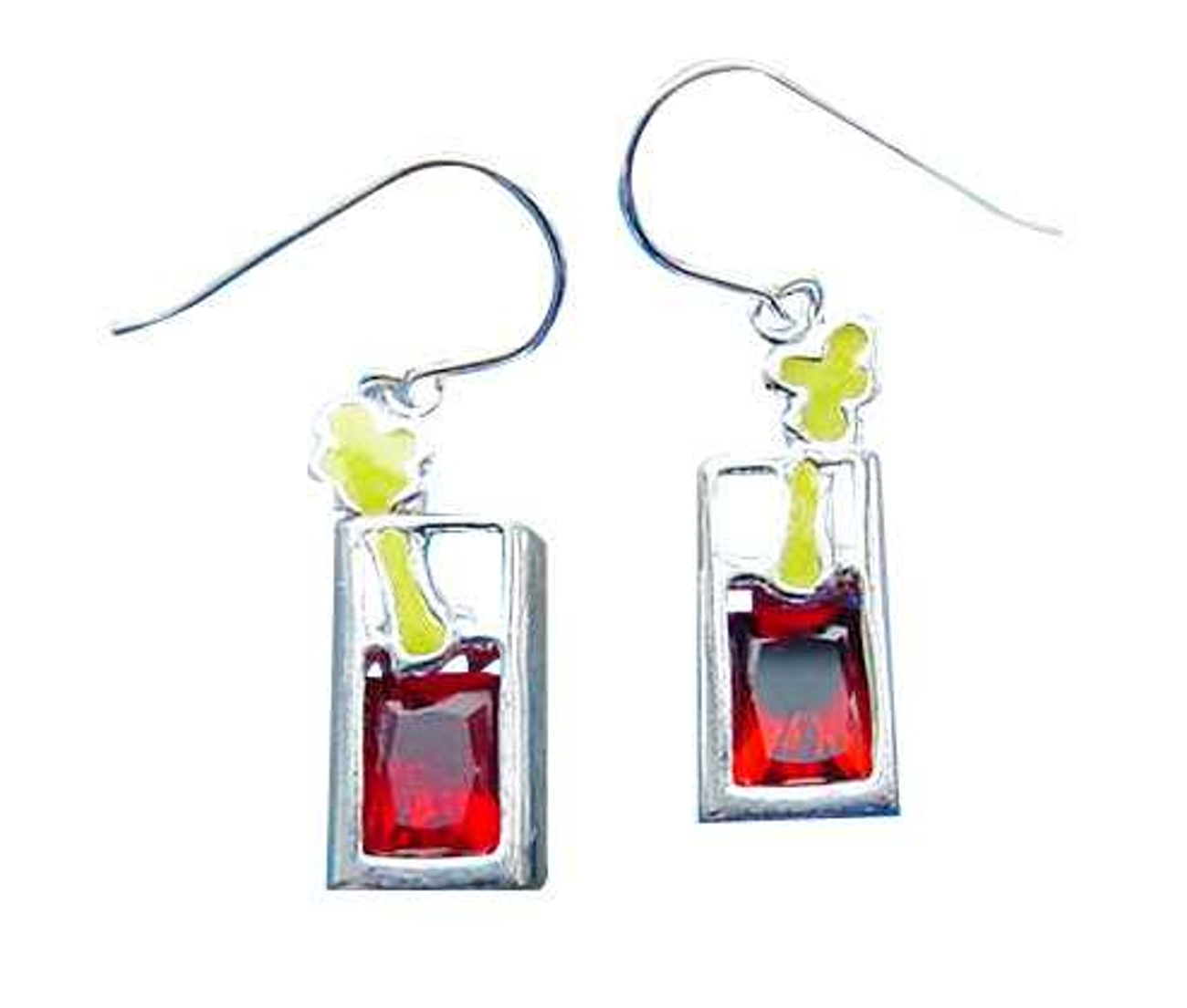 Sterling Silver Red Cubic Zirconia Bloody Mary Cocktail Earrings