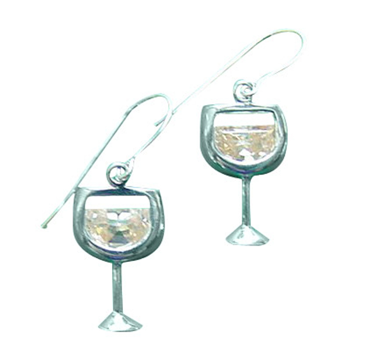 Sterling Silver Peach Cubic Zirconia Mai Tai Cocktail Earrings