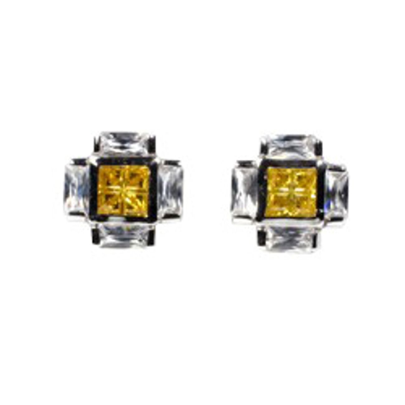 "1/2"" Square Yellow And Clear CZ Squashed Cross Post Men's Earrings"