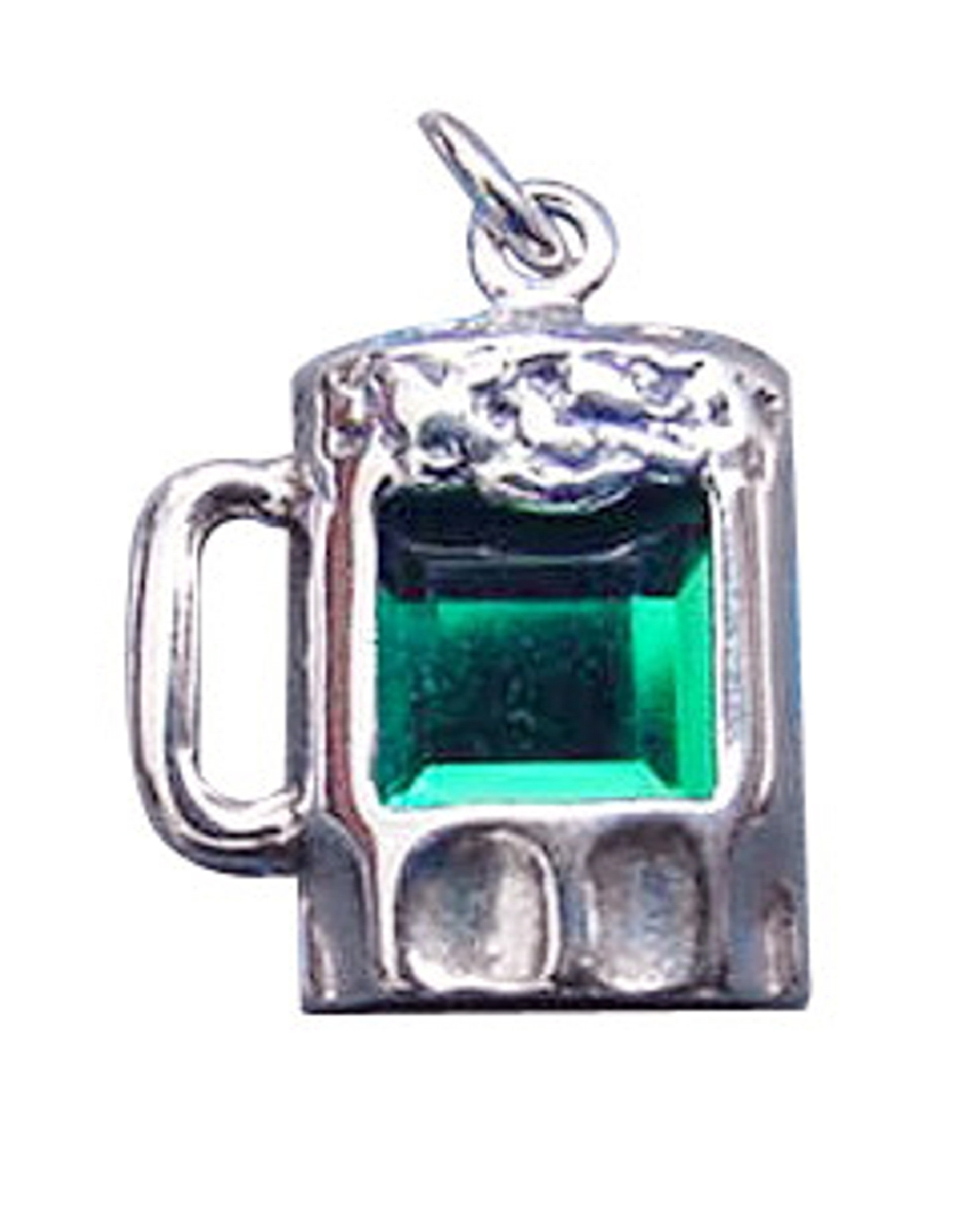 Sterling Silver Green Cubic Zirconia Mug Of Beer Charm