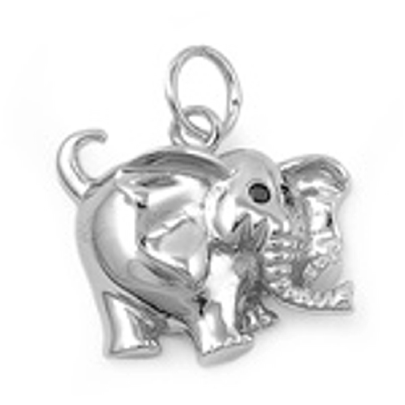Partially 3D African Elephant Charm With Crystal Eyes