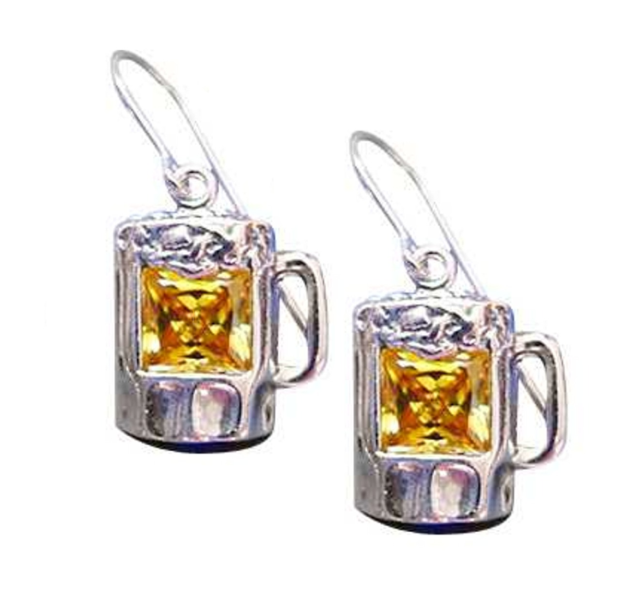 Sterling Silver Yellow Cubic Zirconia Beer Mug Earrings