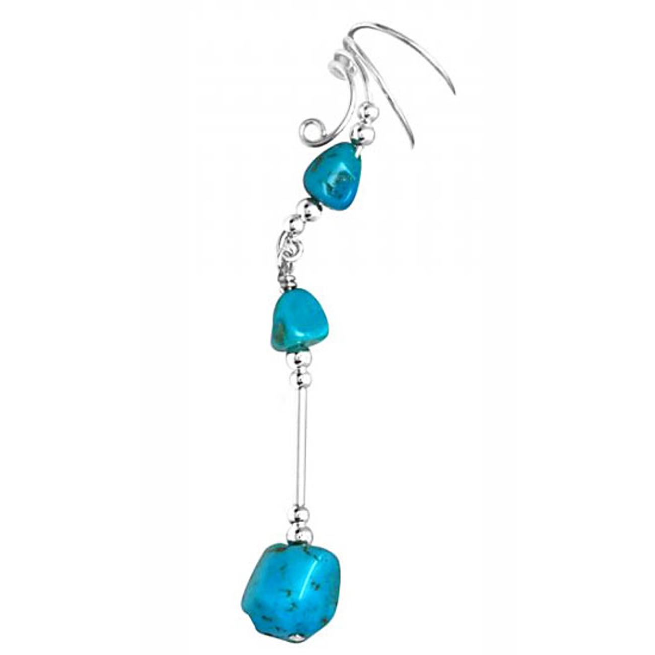 Left Only Long Dangle Blue Turquoise Stone Nuggets Ear Cuff Wrap