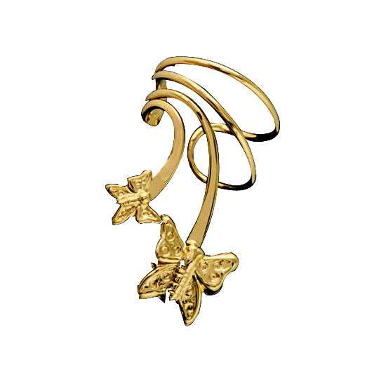 Gold Vermeil Pierceless Left Only Two Butterfly Ear Cuff