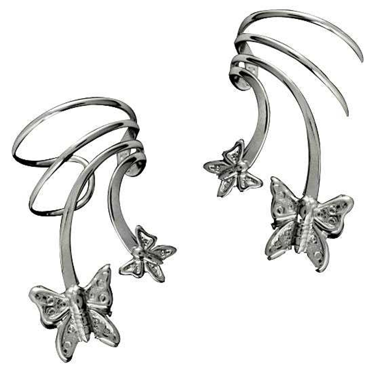 Sterling Silver Pierceless Left And Right Two Butterfly Ear Cuff
