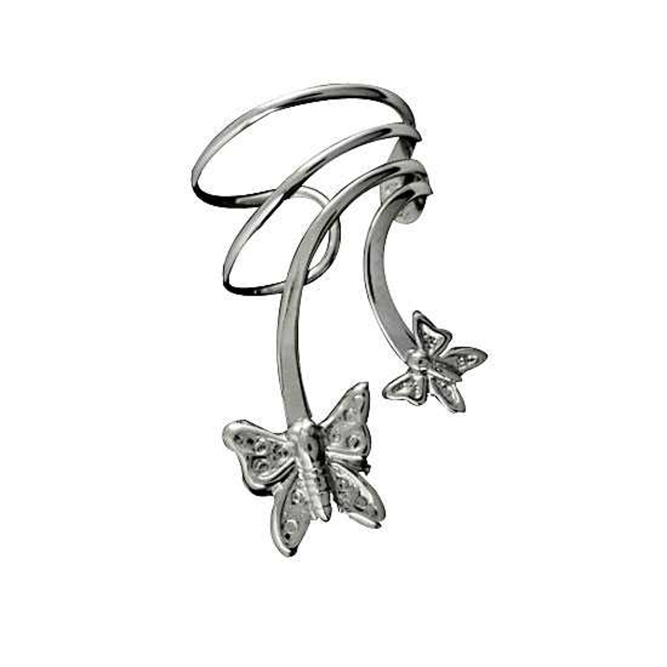 Sterling Silver Pierceless Right Only Two Butterfly Ear Cuff