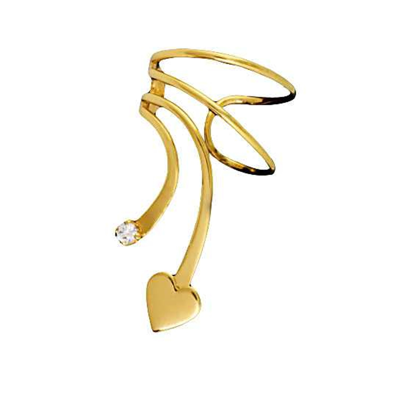 Gold Vermeil Left Only Short Wave Heart And Cubic Zirconia Ear Cuff